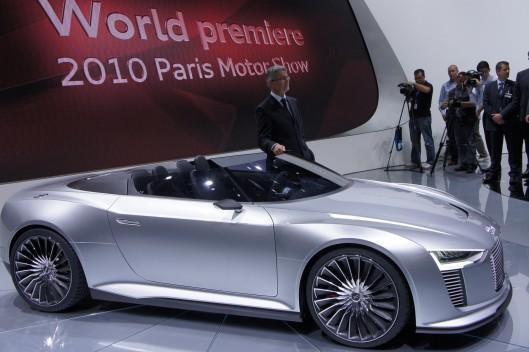 Audi's e-tron hybrid Spyder at the 2010 Paris Auto Show