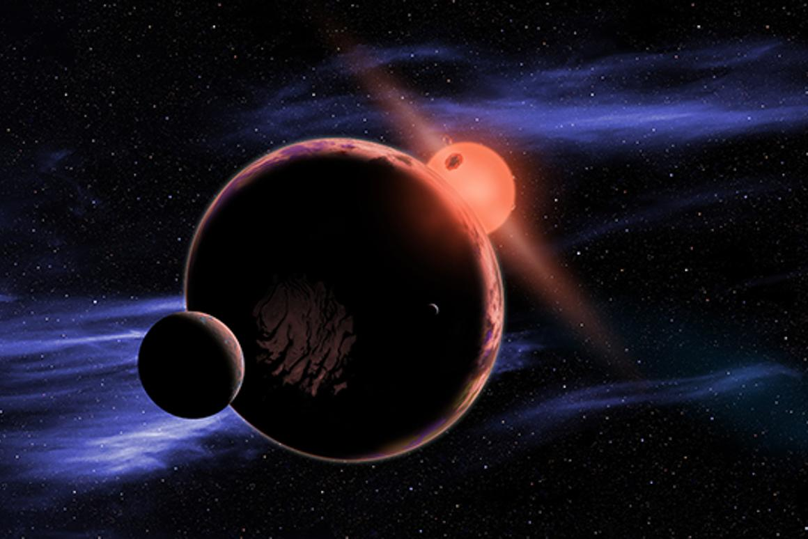 Artist rendering of an exoplanets with two moons orbiting a red dwarf star
