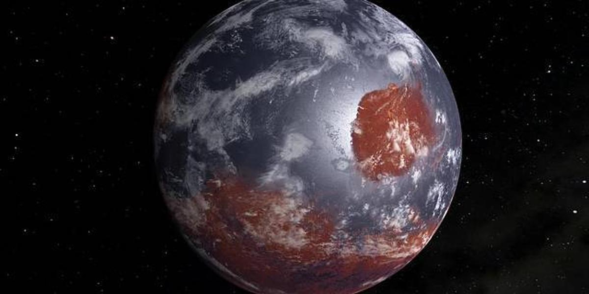 Artist's concept of Mars as it may have looked billions of years ago with an atmosphere and ocean