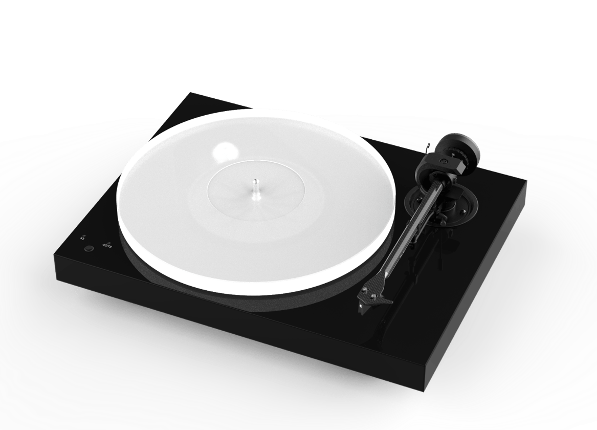 The Pro-Ject X1 features a heavy chassis made from new MDF material that's finished in walnut veneer or black or white gloss
