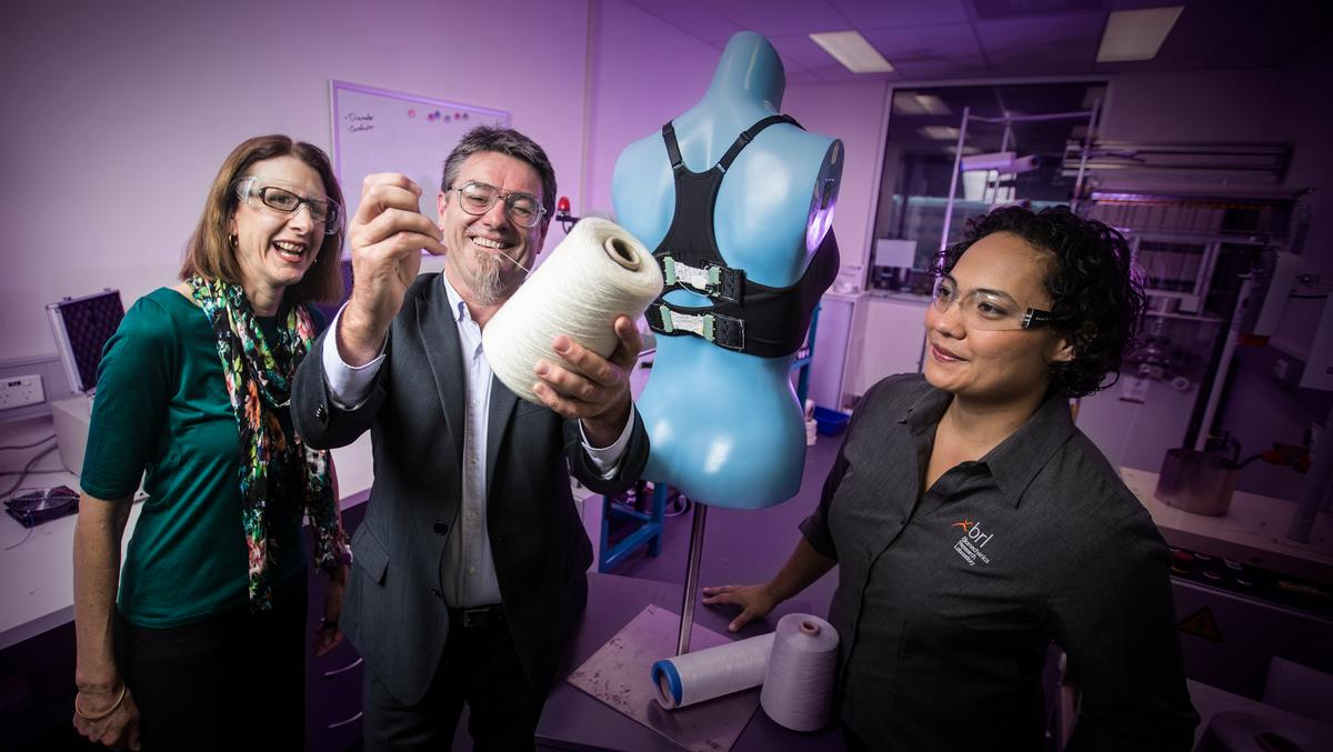 "Newly developed actuators and ""smart yarn"" have been used to create the Bionic Bra (Photo: University of Wollongong)"