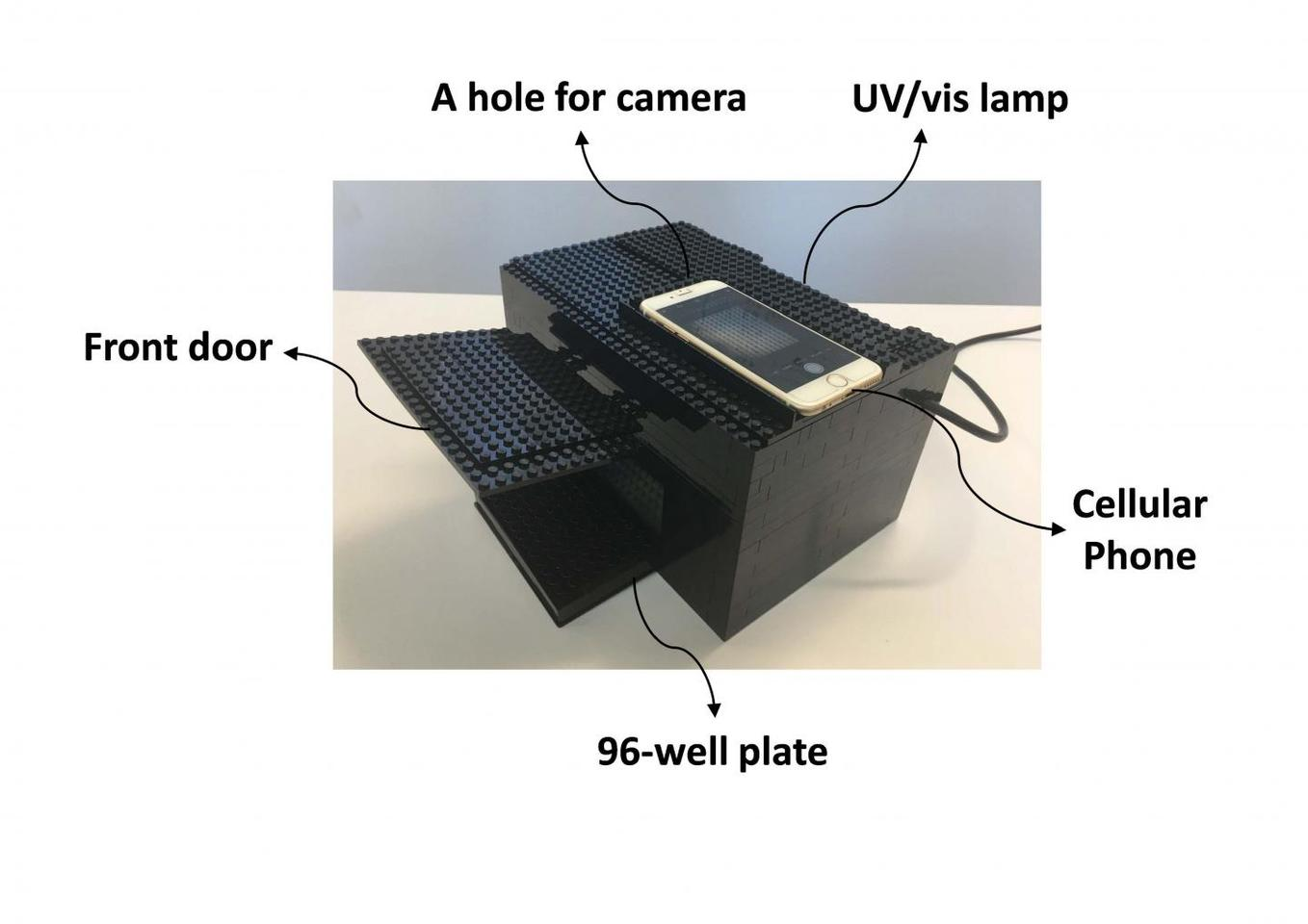 A homemade Lego dark-box for imaging using a cell phone. The Lego box is equipped with a UV/vis lamp, a hole for the iPhone camera, and guides for camera and plate placement.