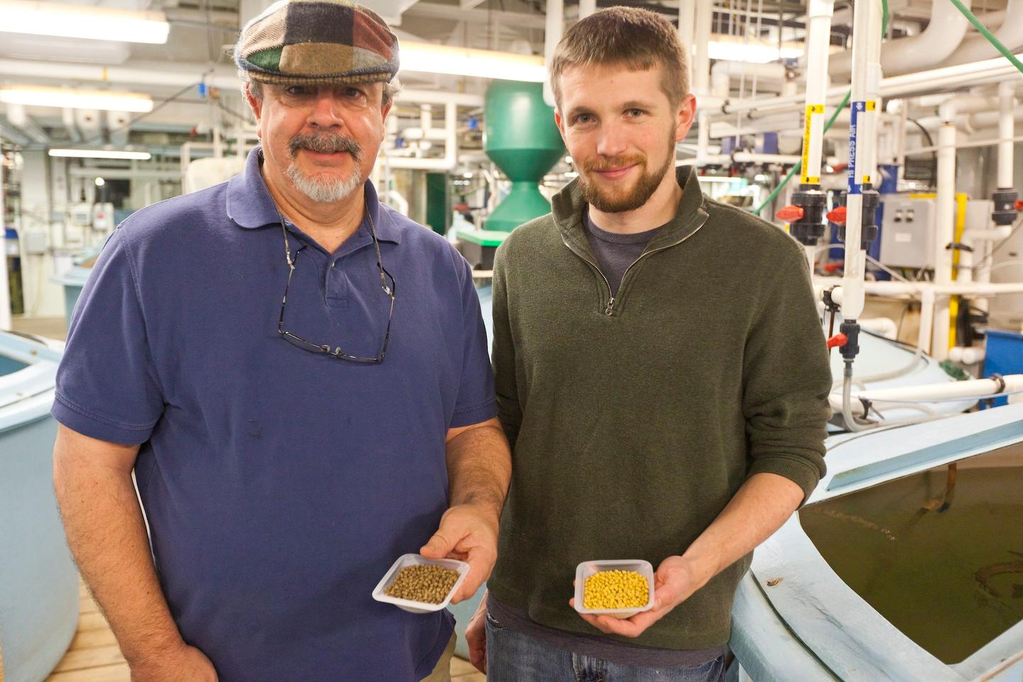 Dr. Allen Place (left) and Dr. Aaron Watson, developers of the vegetarian fish feed (Photo: University of Maryland Center for Environmental Science/Cheryl Nemazie)