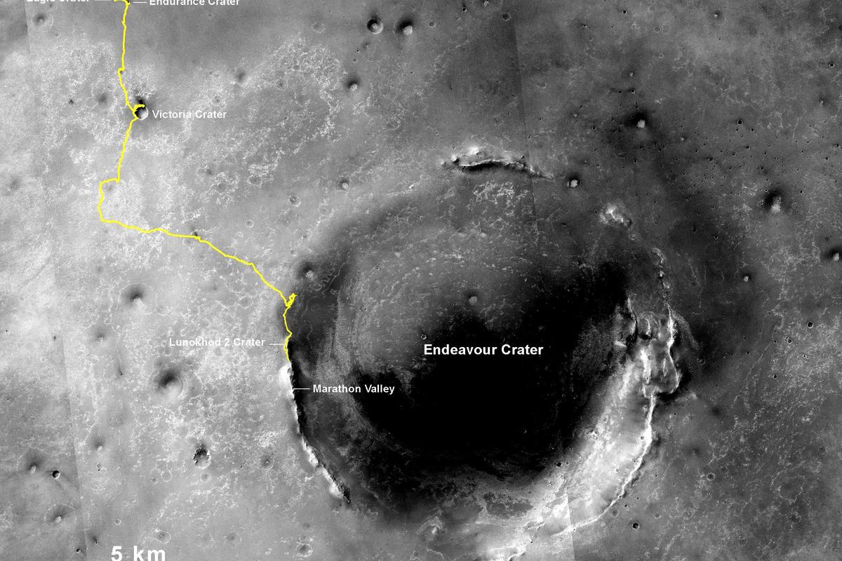 An image displaying Opportunity's path from its deployment zone in Eagle Crater, to its current position (Image: NASA/JPL-Caltech/MSSS/NMMNHS)