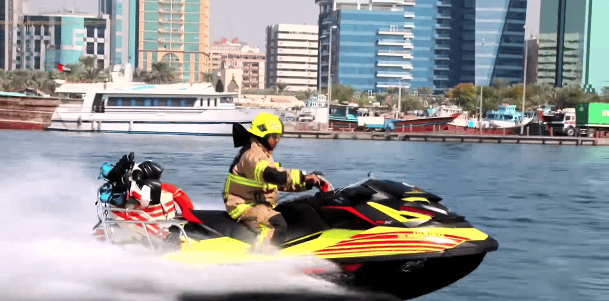 Mounted on a jet ski, a Dolphin operator is free to travel at high speed across the water