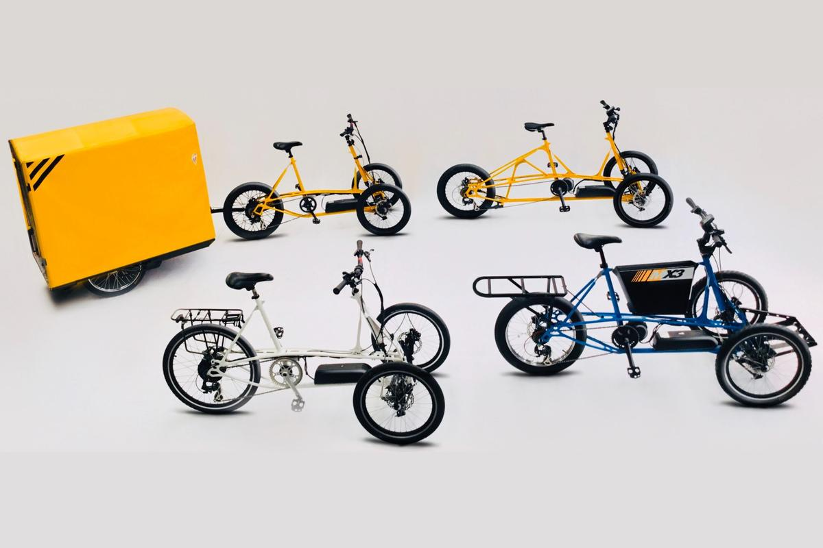 The tilting electric-assist tricycles can haul from 40 kg to 200 kg