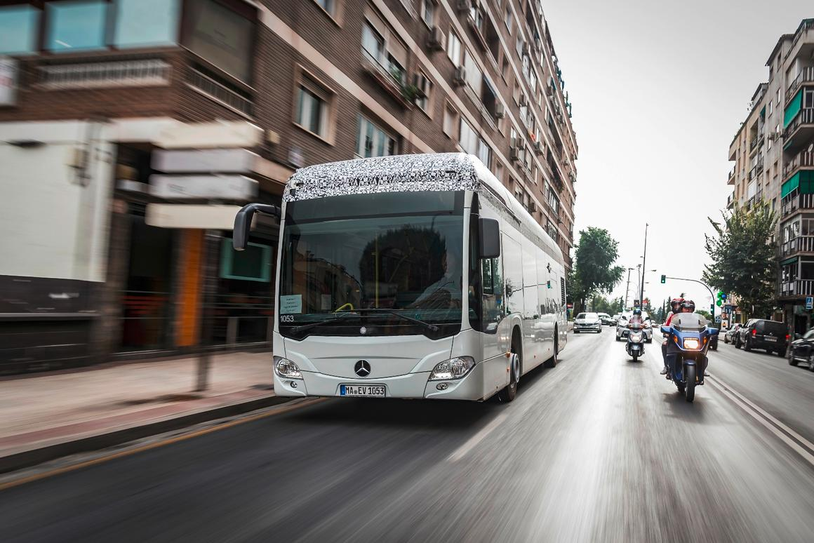The EvoBus Citaro E-CELL city bus can be customized with modular battery packs to satisfy differing range requirements