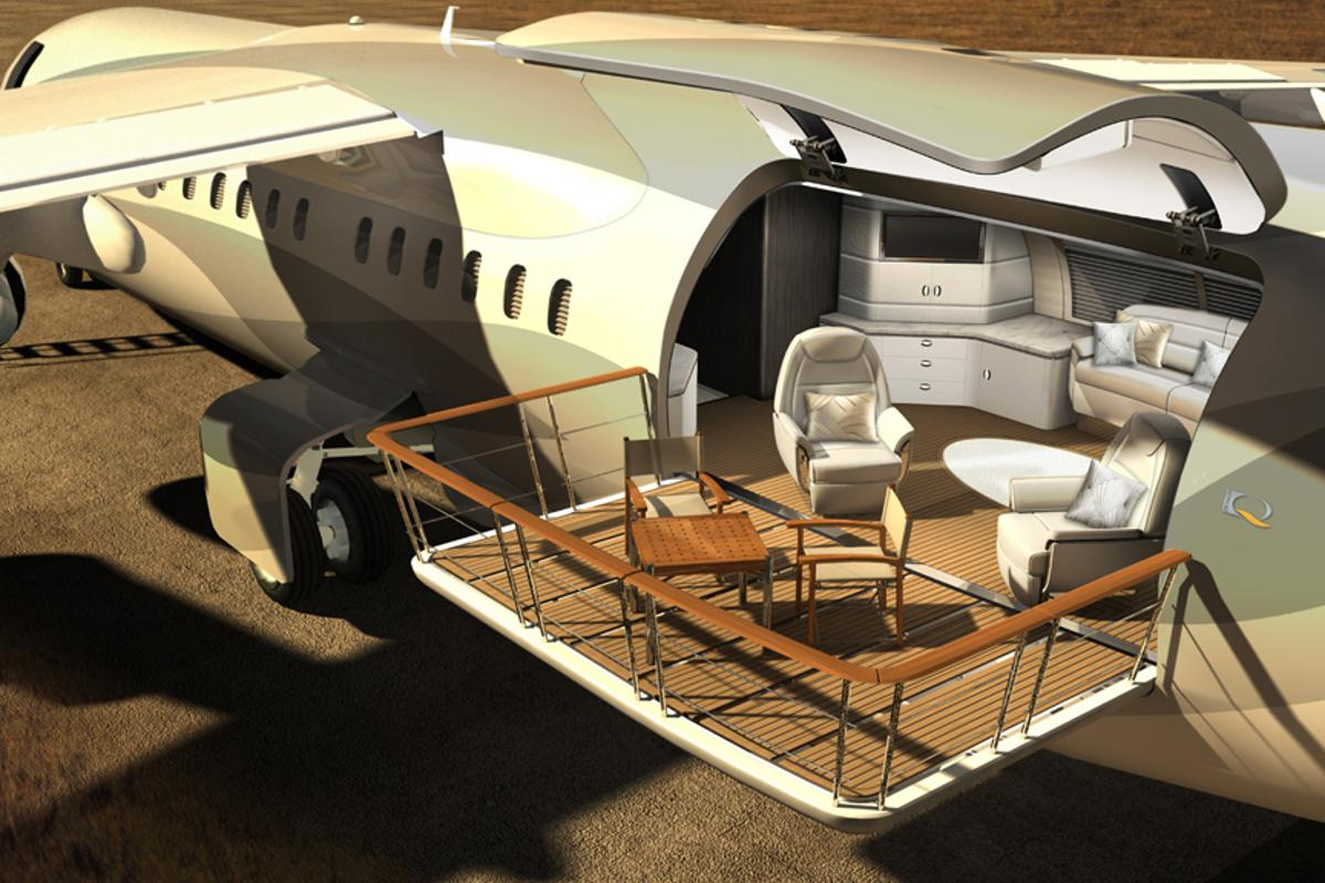 The Air Deck transforms the rear of the aircraft into an extended living space
