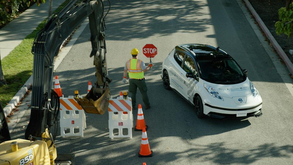 Nissan's new artificial intelligencelearns from the environment and the driver to become better at handling unforeseen situations such as construction zones