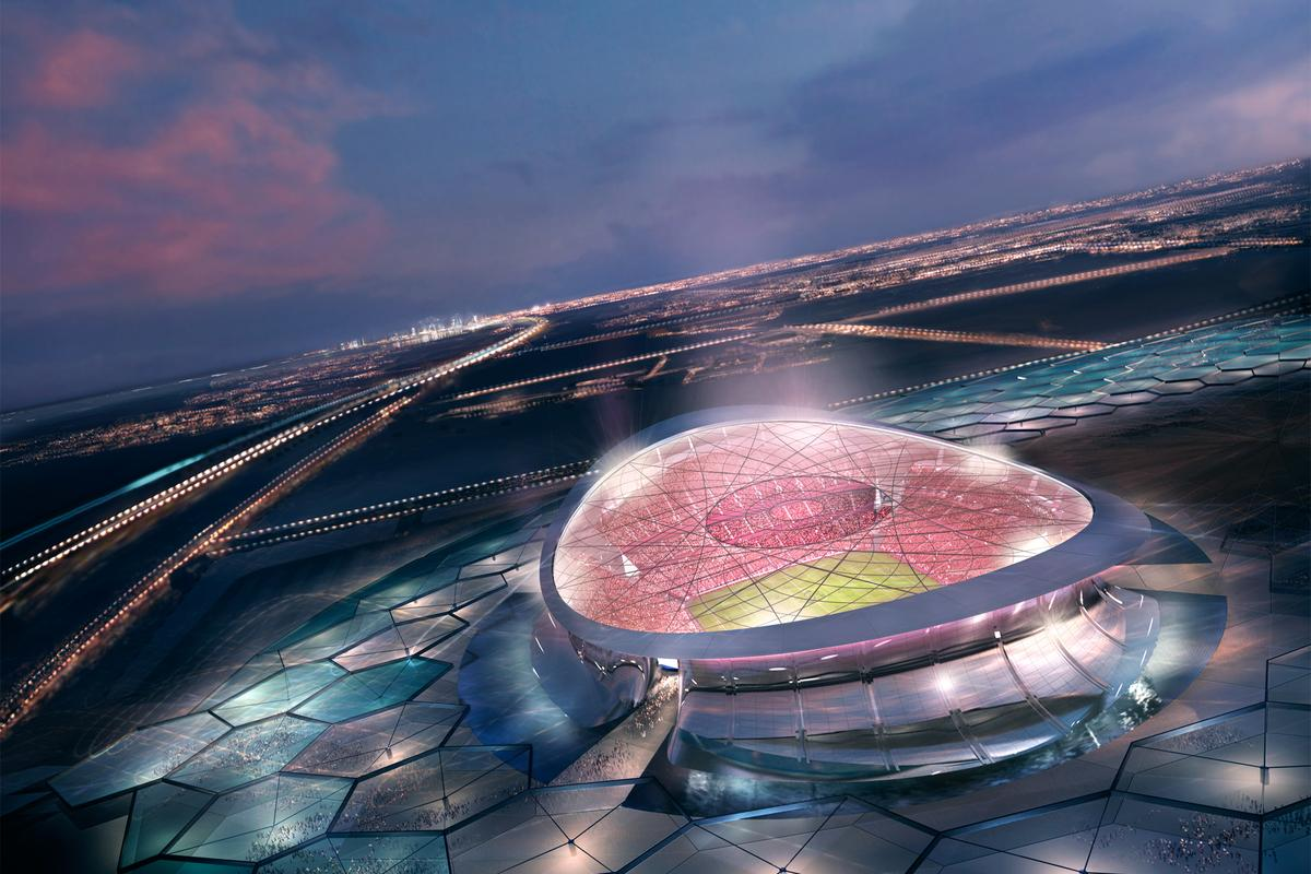 The Lusail Iconic Stadium surrounded by solar collectors