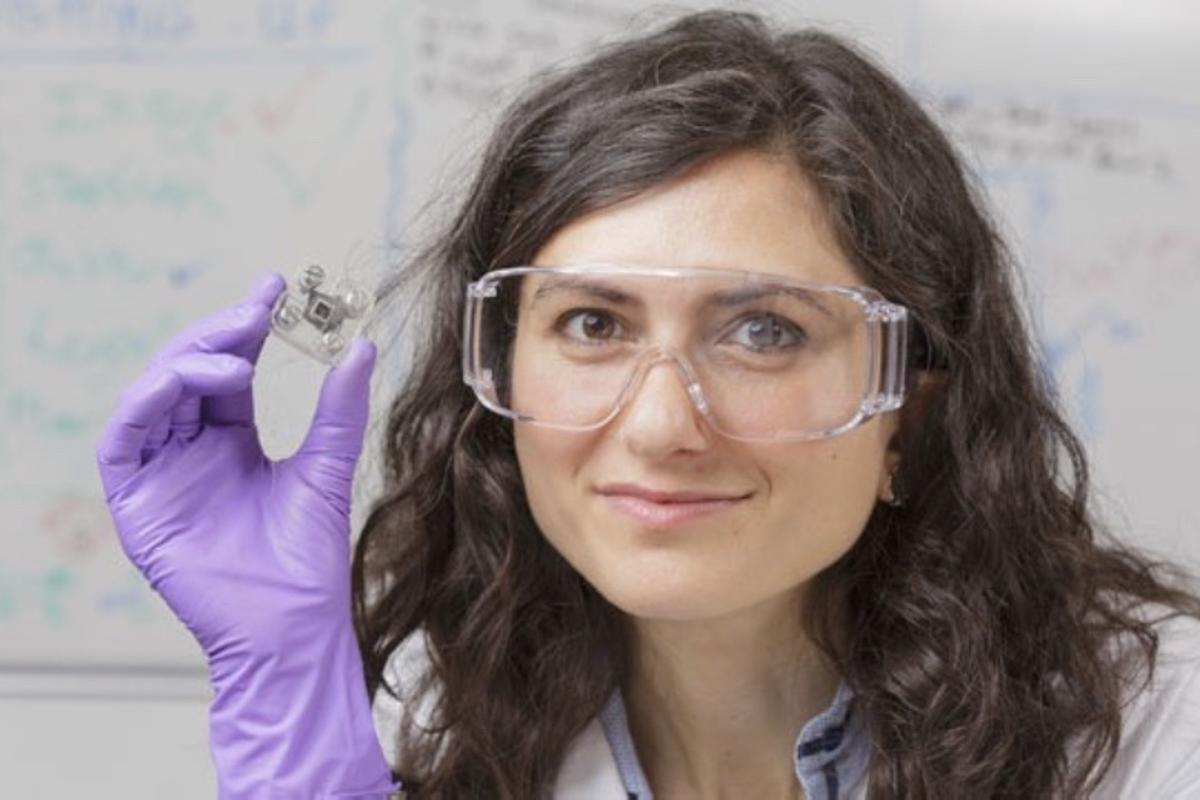 Dr. Mirella Di Lorenzo with her urine-powered microbial fuel cell