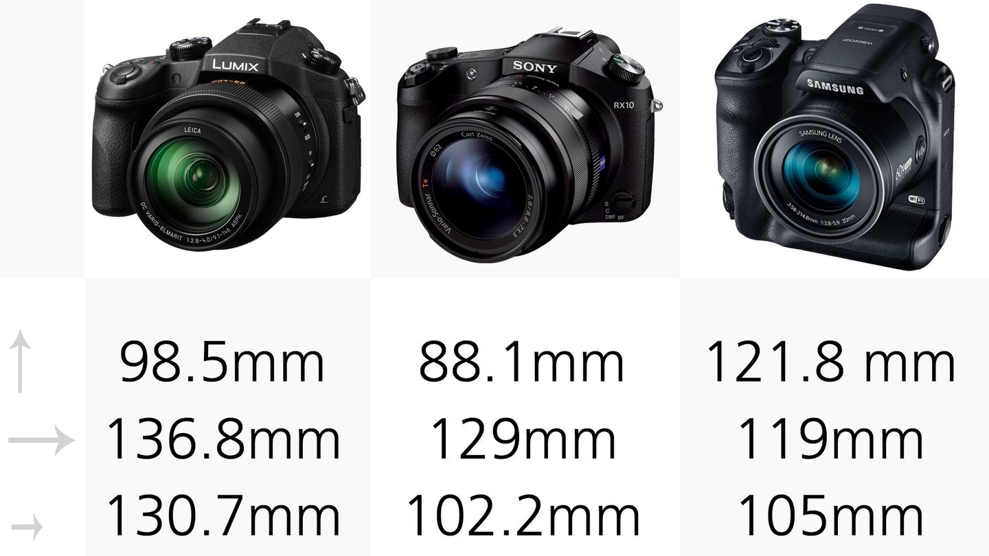 The Panasonic DMC-FZ1000 and Sony RX10 look like typical DSLRs while the Samsung WB2200F features a double-grip and dual shutter button design