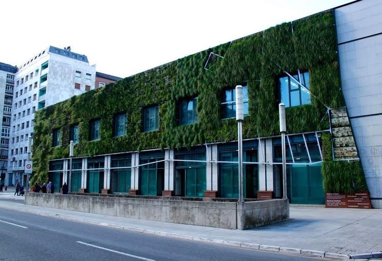 The vertical garden at the Palacio de Congresos Europa in Vitoria-Gasteiz, Spain