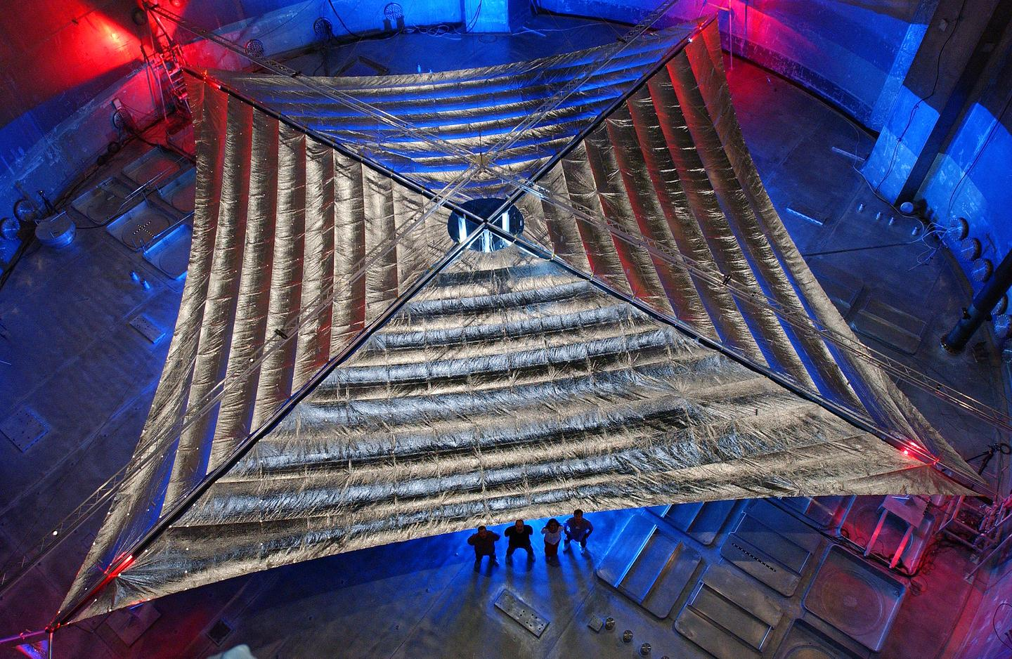 The 20-meter (65.6-ft) solar sail and boom system, developed by L'Garde Inc. of Tustin, California (Image: NASA)
