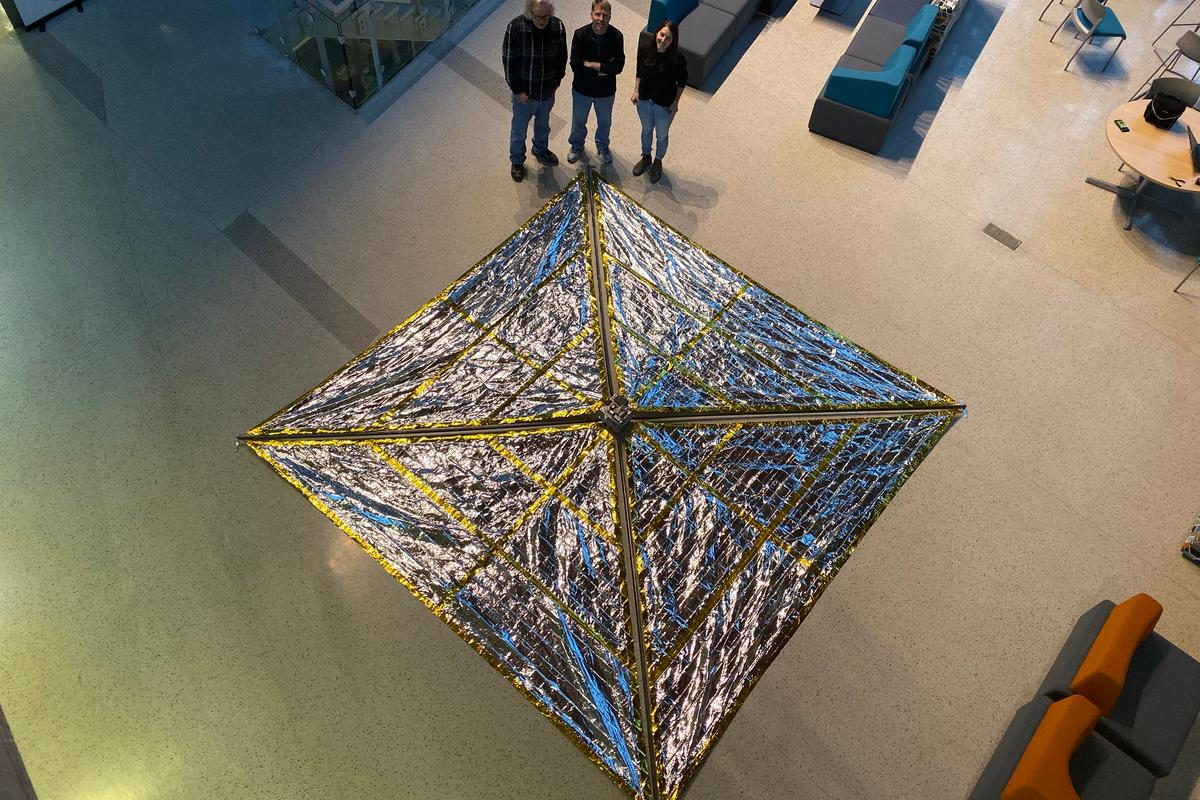 When spread out, the deorbiting drag sail Spinnaker3 has an area of 194 square feet