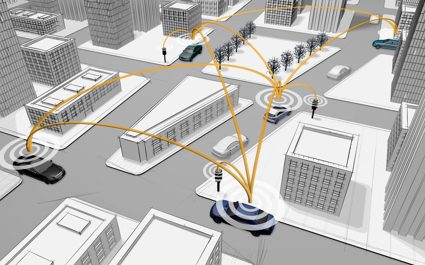 Daimler's C2X system sees vehicles and traffic infrastructure network linked so they can communicate with each other (Image: Daimler)