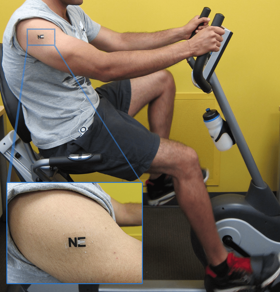 The tattoo biosensor for monitoring lactate levels that has been converted into a sweat-powered biobattery (Photo: Joe Wang, ACS)