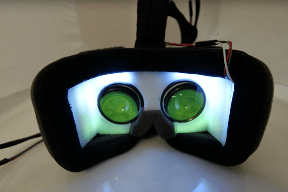 The SparseLightVR system from Microsoft Research uses an array of LEDs to expand the wearer's field of vision