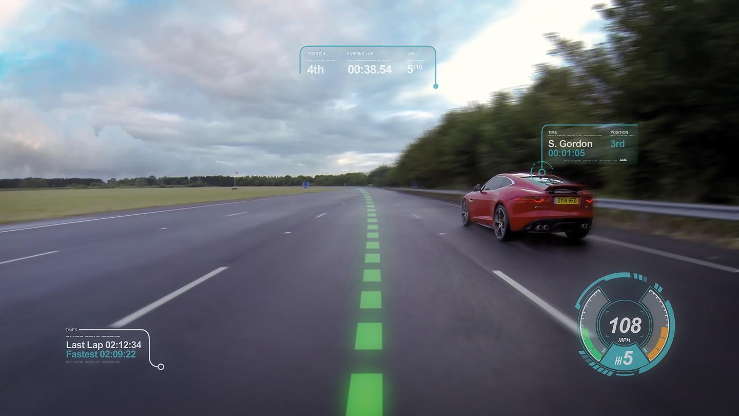 "Jaguar's ""Virtual Windscreen"" can project key information onto the windshield"