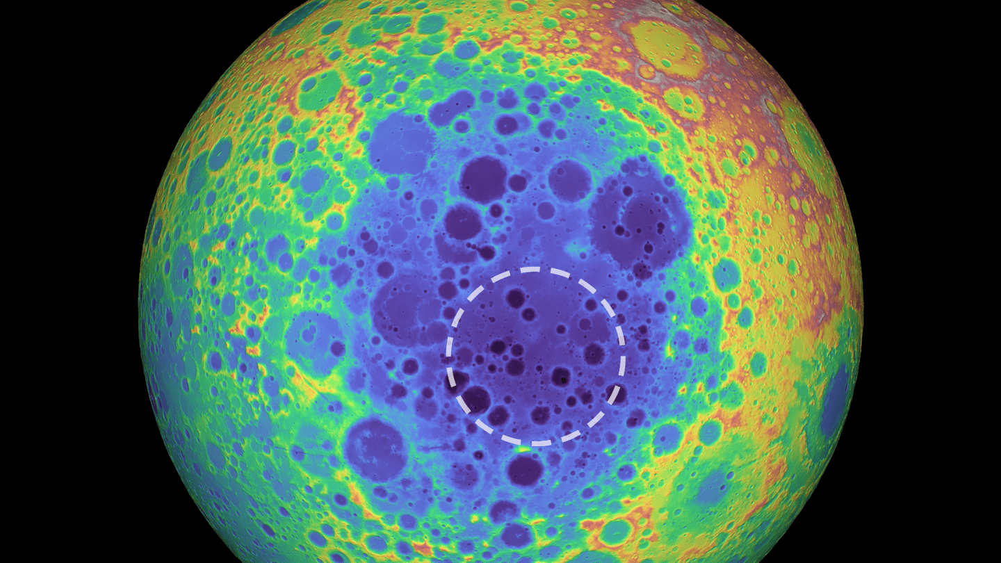 The huge South Pole-Aitken basin on the Moon can be seen in this topographical map, as blue areas represent lower regions. The white dotted outline shows the location of the mass anomaly