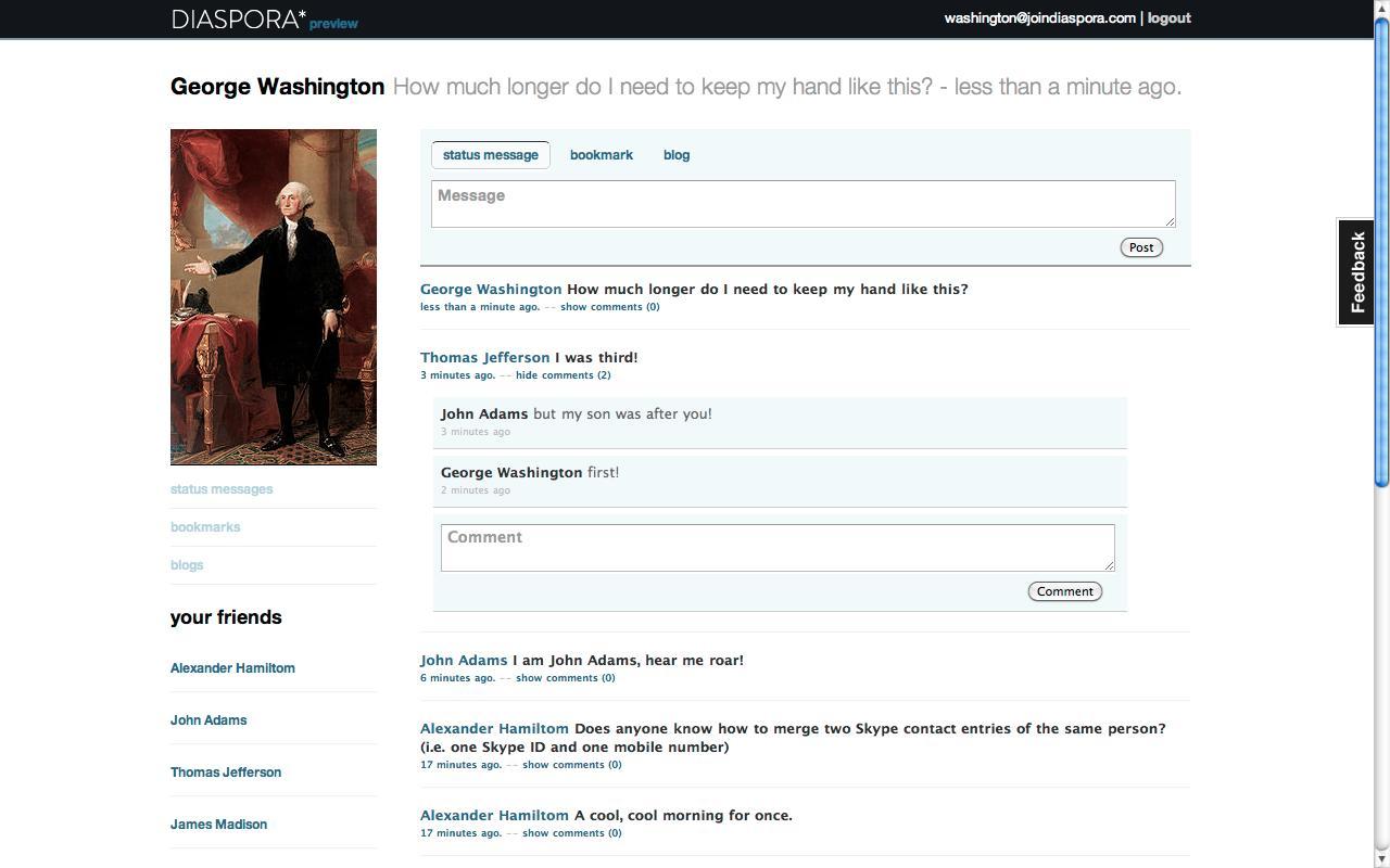 A sample Diaspora user page