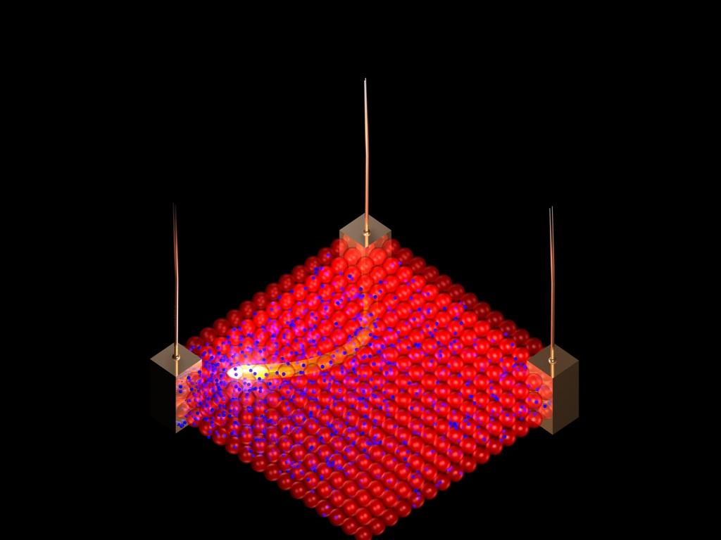"""By applying electrical pulses to the new nanomaterial, a sea of small negatively charged ions (blue) can be pushed and pulled between larger, positively charged nanoparticles (red) which are """"jammed"""" in place (Image: Northwestern University)"""