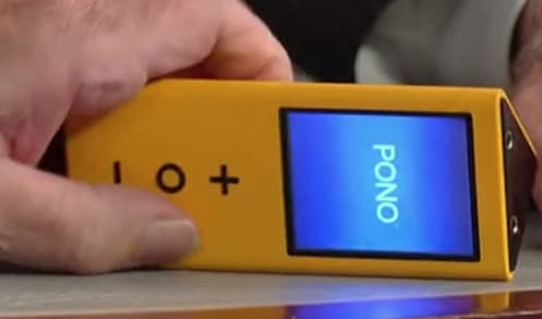 Users operate the player by swiping a touch screen to navigate through the music and using three buttons