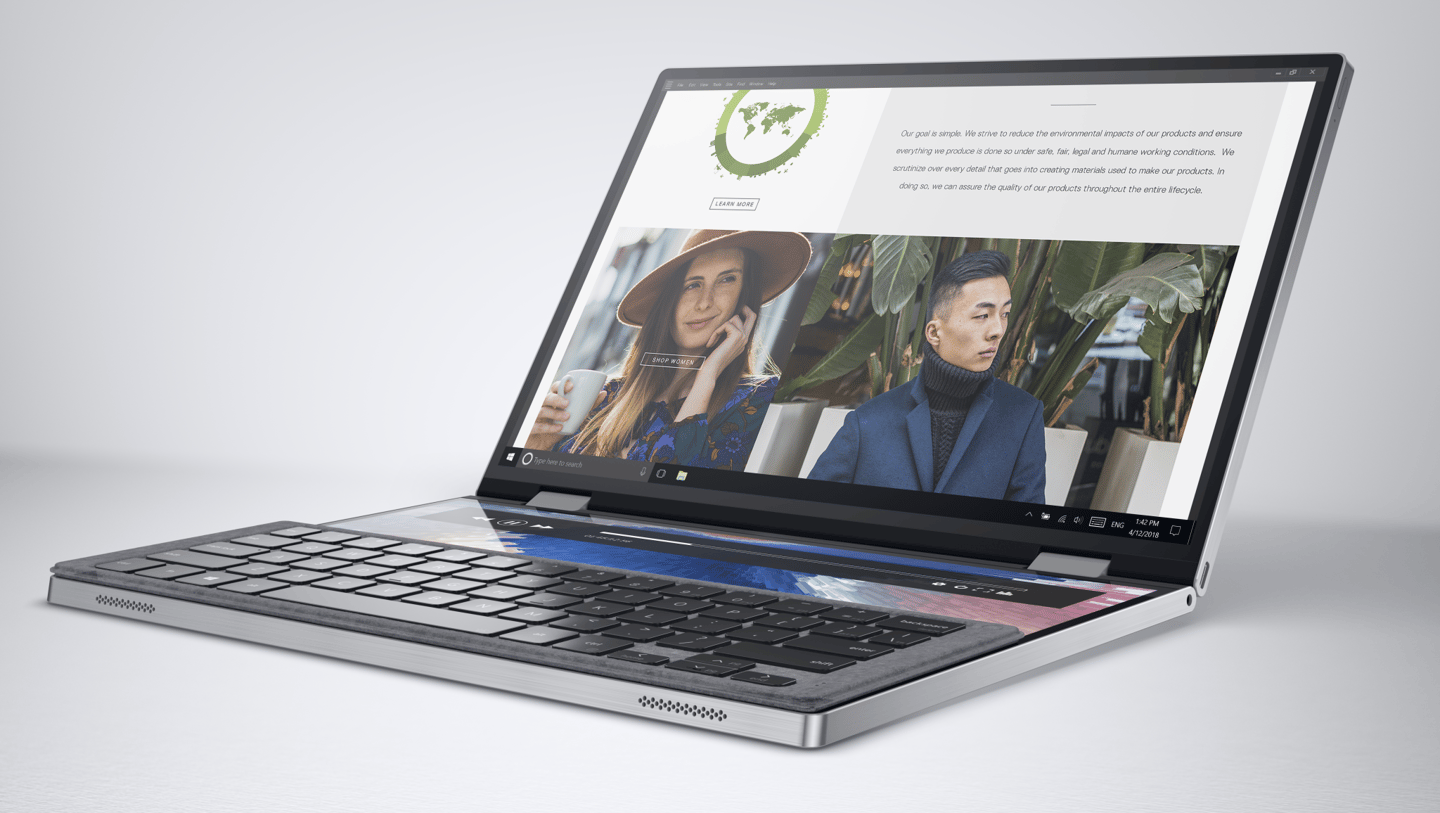 The Dell Concept Duet can have a keyboard that sits on the bottom screen to give it more traditional laptop functionality