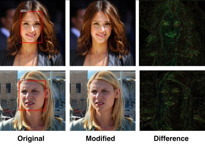 Before and after images of facial photos altered by the system, along with the differences between the two