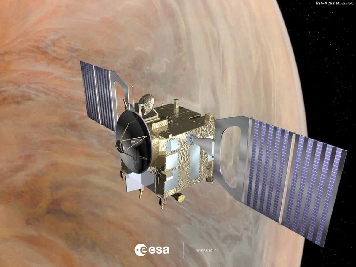 Visualization of the Venus Express in orbit above Venus (Image: ESA)