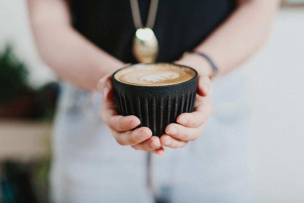 Huskee's cups are composed of a coffee husk-based ceramic resin