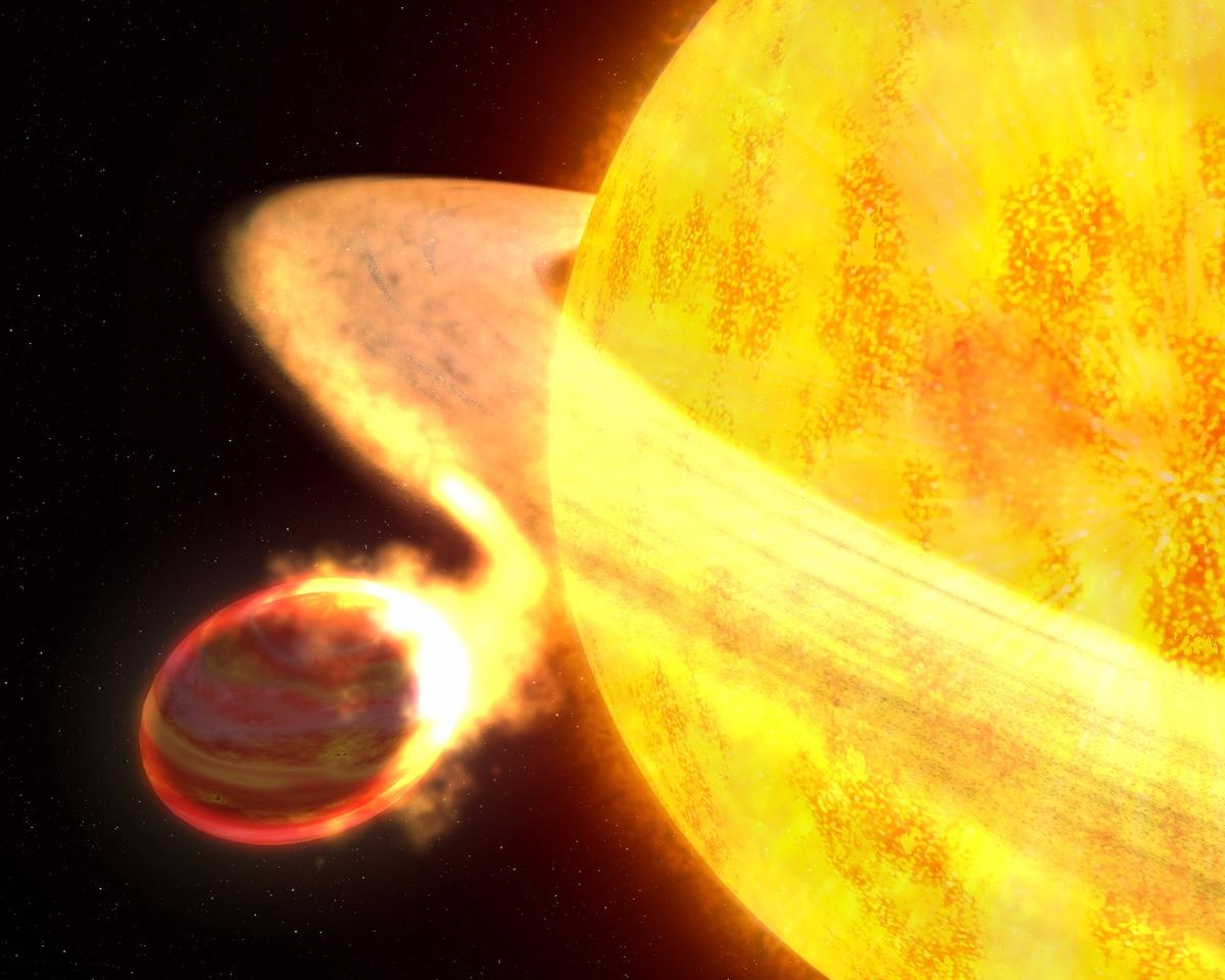 An artist's rendition of the star WASP-12 devouring one of its planets, WASP-12b – but that's nothing compared to Kronos, a star that has reportedly swallowed up 15 Earths-worth of rocky planets