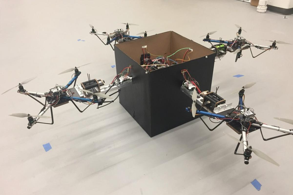 Although the prototype utilizes four drones, a commercial version of the technology could incorporate a larger number