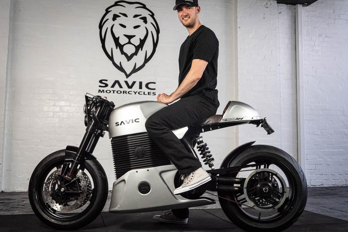 Dennis Savic aboard his latest Series C electric motorcycle prototype