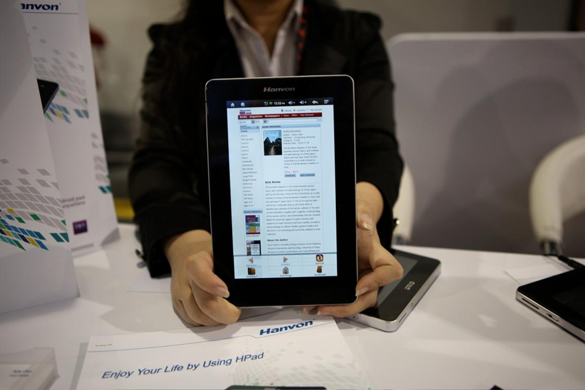 Hanvon's 7-inch tablet/reader was on show at CES - which runs on Android 2.2 or 2.3, is powered by an A8 processor and has 2GB of onboard storage