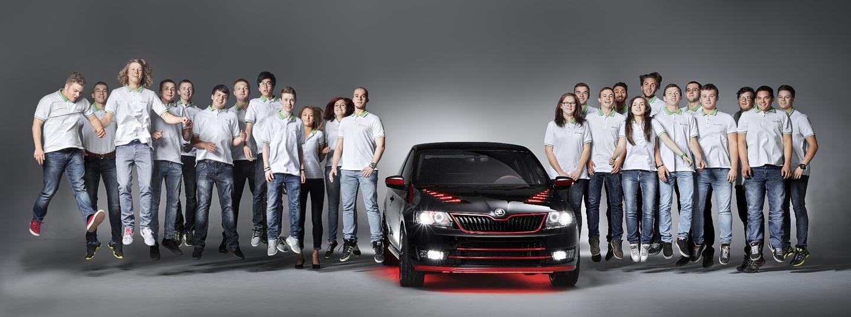 The Skoda Students alongside their creation