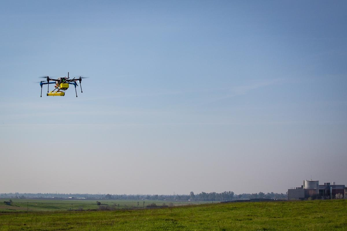 A JPL mini methane gas sensor is flight tested on a small unmanned aerial system (sUAS) under a project to improve energy pipeline industry safety
