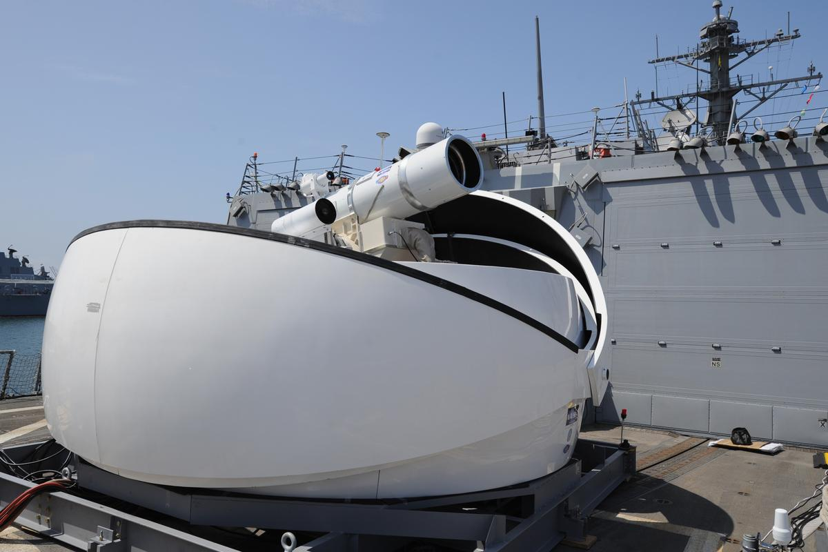 Laser Weapon System (LaWS) temporarily installed aboard the guided-missile destroyer USS Dewey (DDG 105)