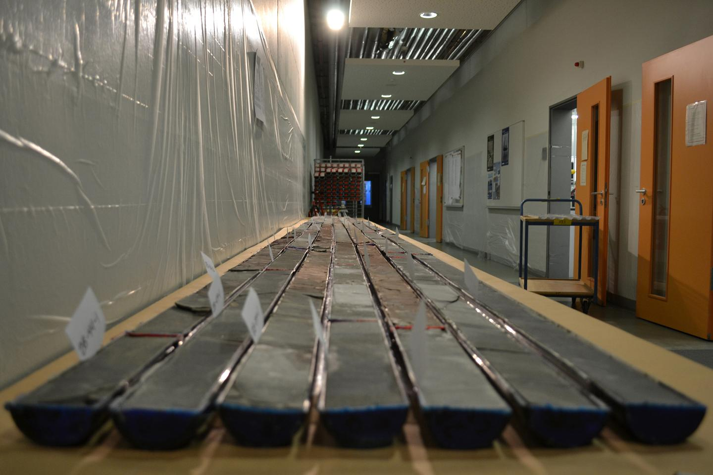Sediment cores drilled from Wyoming's Bighorn Basin (Photo: Bianca Maibauer, University of Utah)