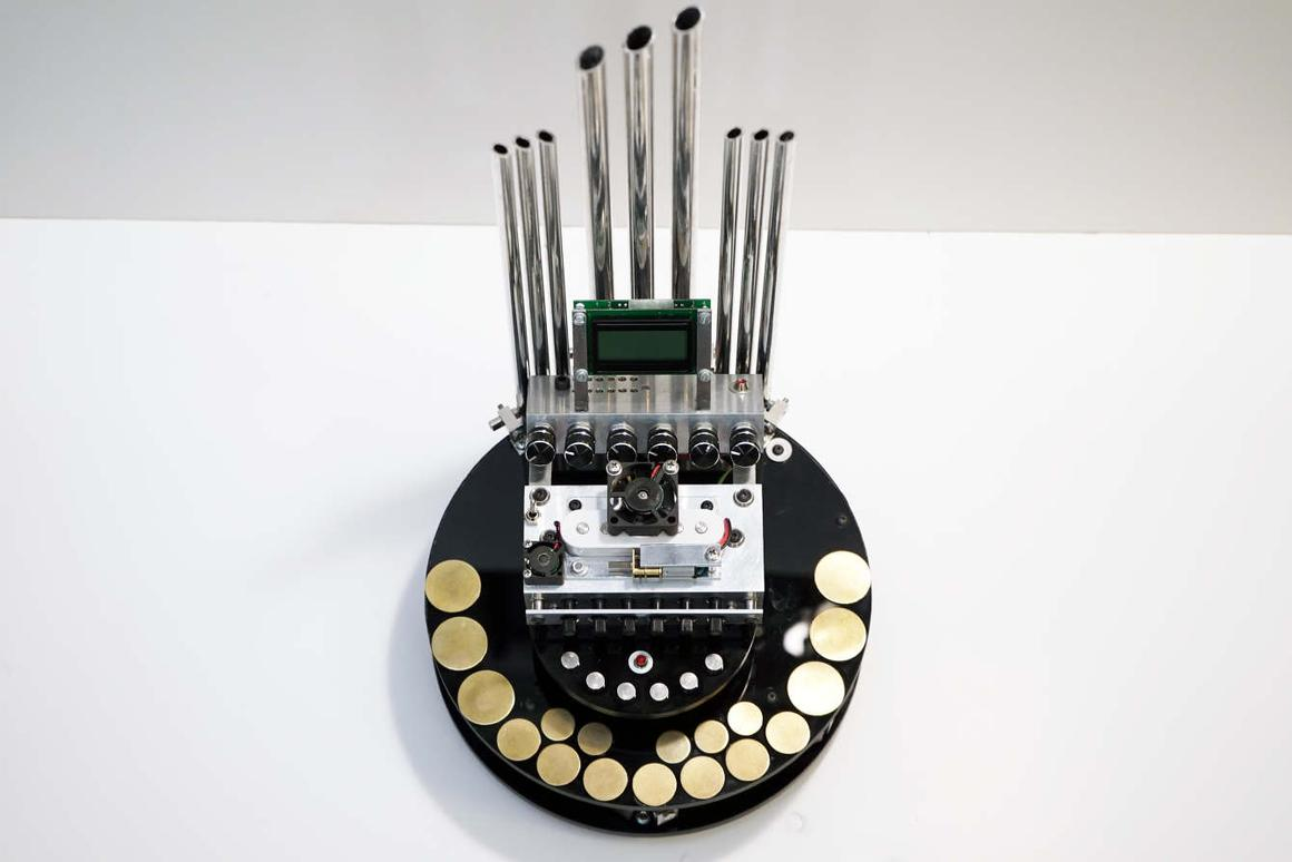 The motorgan is played by touching one or more of the instrument's 24 keys, which activates the motors used to generate the sounds