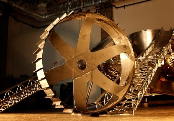 Close up on the wheel of the Astrobotic rover