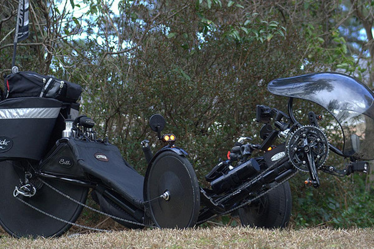 Cyclist Jim Artis' Catrike 700 recumbent tricycle, aka Silk