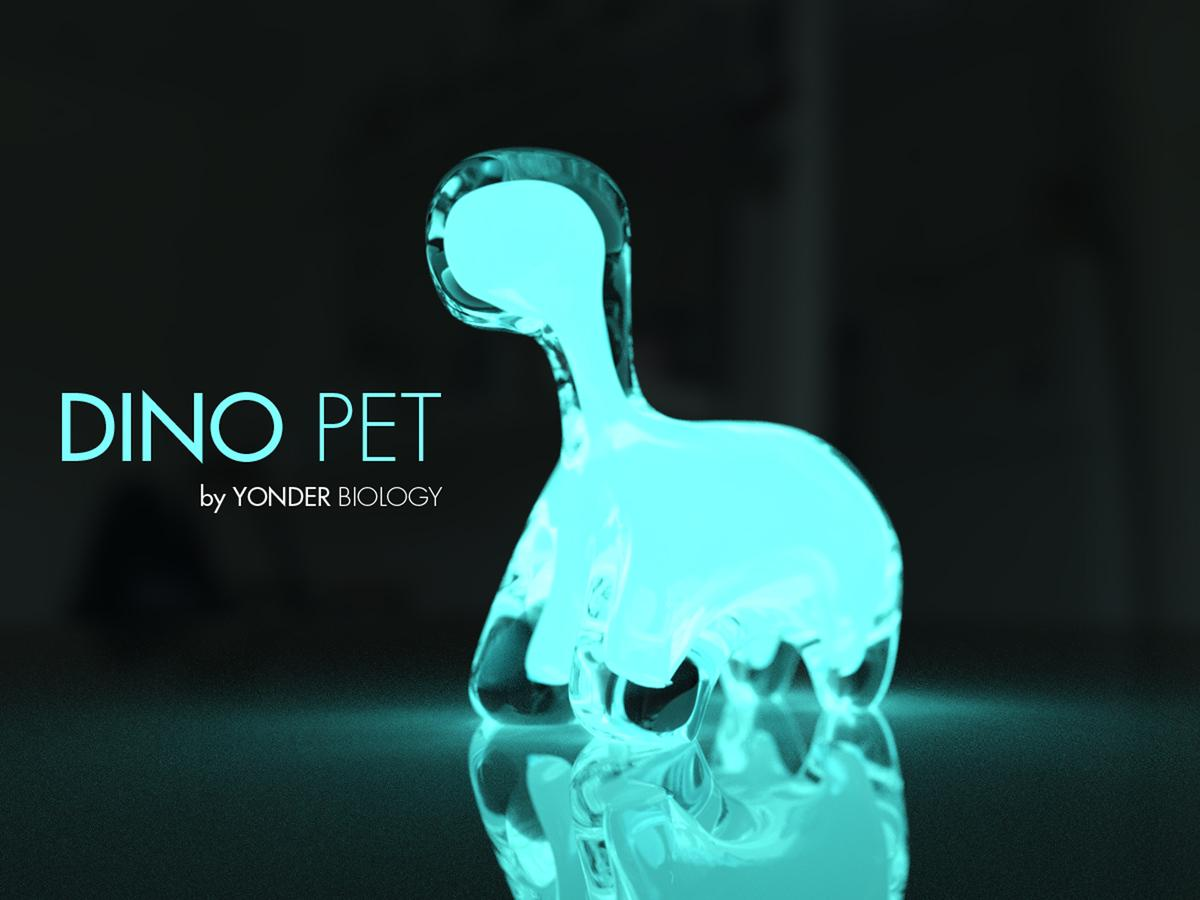 Dino Pet is a clear plastic dinosaur filled with bioluminescent algae that glow in the dark, so it can act as night light as well as a fun learning tool