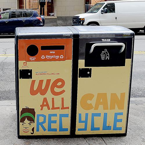 Bigbelly solar-powered recycling/garbage bins can be visually-enhanced with art or advertisements