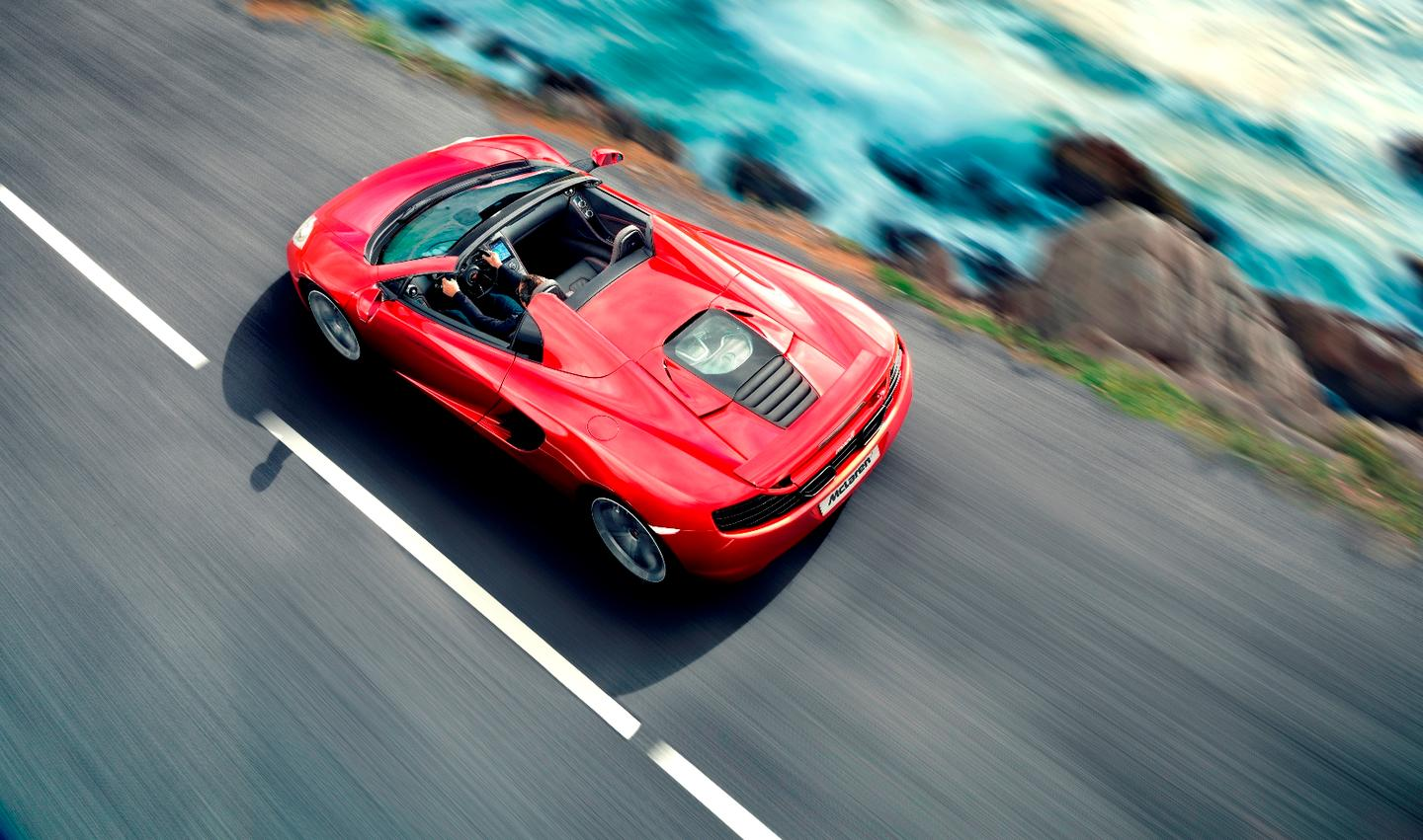 The McLaren 12C Spider boasts the same 24.2 EU mpg (11.7 liters/100 km) fuel efficiency figures as the 12C
