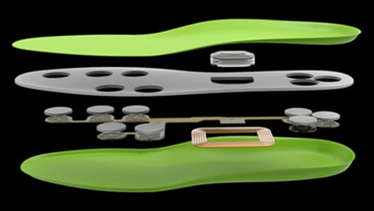 An exploded view of the FootLogger insole