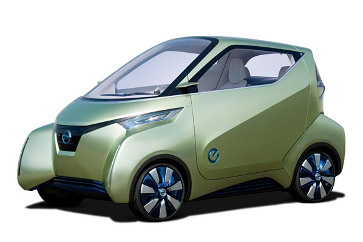 The Nissan PIVO 3 concept vehicle is a three-seater EV designed as an urban commuter