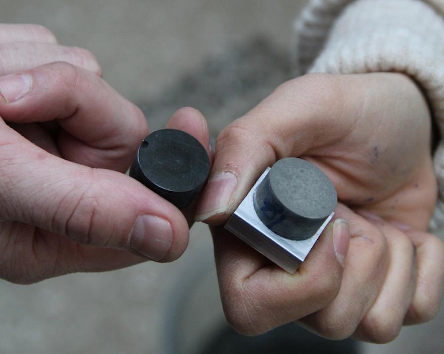 Small samples of MIT's new conductive concrete