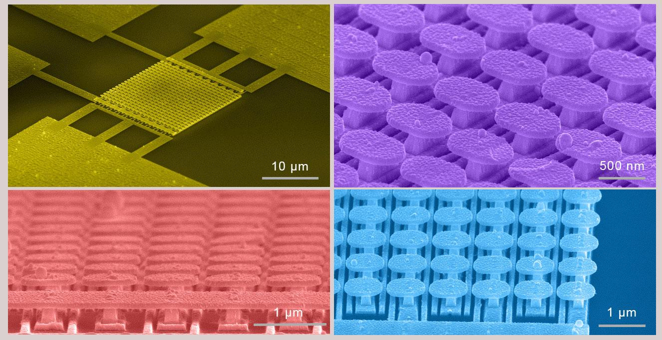 The metasurface created by the UCSan Diego team is created from an array of gold mushroom-shaped nanostructures mounted on a matrix of gold strips and built on top of a silicon wafer with a layer of silicon dioxide separating the two levels
