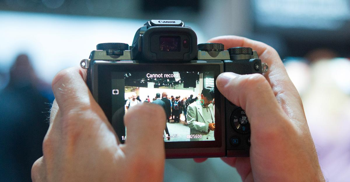 The rear touchscreen on theCanon EOSM5 mirrorless camera is responsive when using it to set focus and shoot